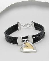 Double Heart Charm Triple Strand Black Leather Bracelet - $17.00