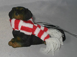 DACHSHUND BLACK Ornament DOXIE New Christmas Sandicast Dog Scarf - $19.79