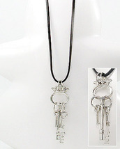 Huge Silvertone Key w/ Mini Key Charm Dangles Leather Necklace - £13.60 GBP