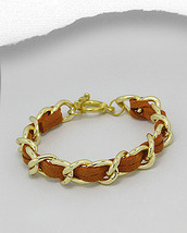 Orange Suede Gold Links Toggle Closure Bracelet - $14.45