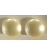 Richelieu Large White Button Style Spring Loaded Screw Back Clip On Earr... - $13.00