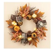 New Fall Autumn Floral Door Wreath w/Plaids and Pumpkins Front Door Decor - $40.19