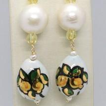 Boucles D'Oreilles en or Jaune 750 18K Perles Fw Et Goutte Peint A Main en Italy image 2