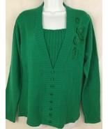 Adrian Delafield Women Knit Sweater Emerald Green Beaded Crochet Flower ... - $24.95