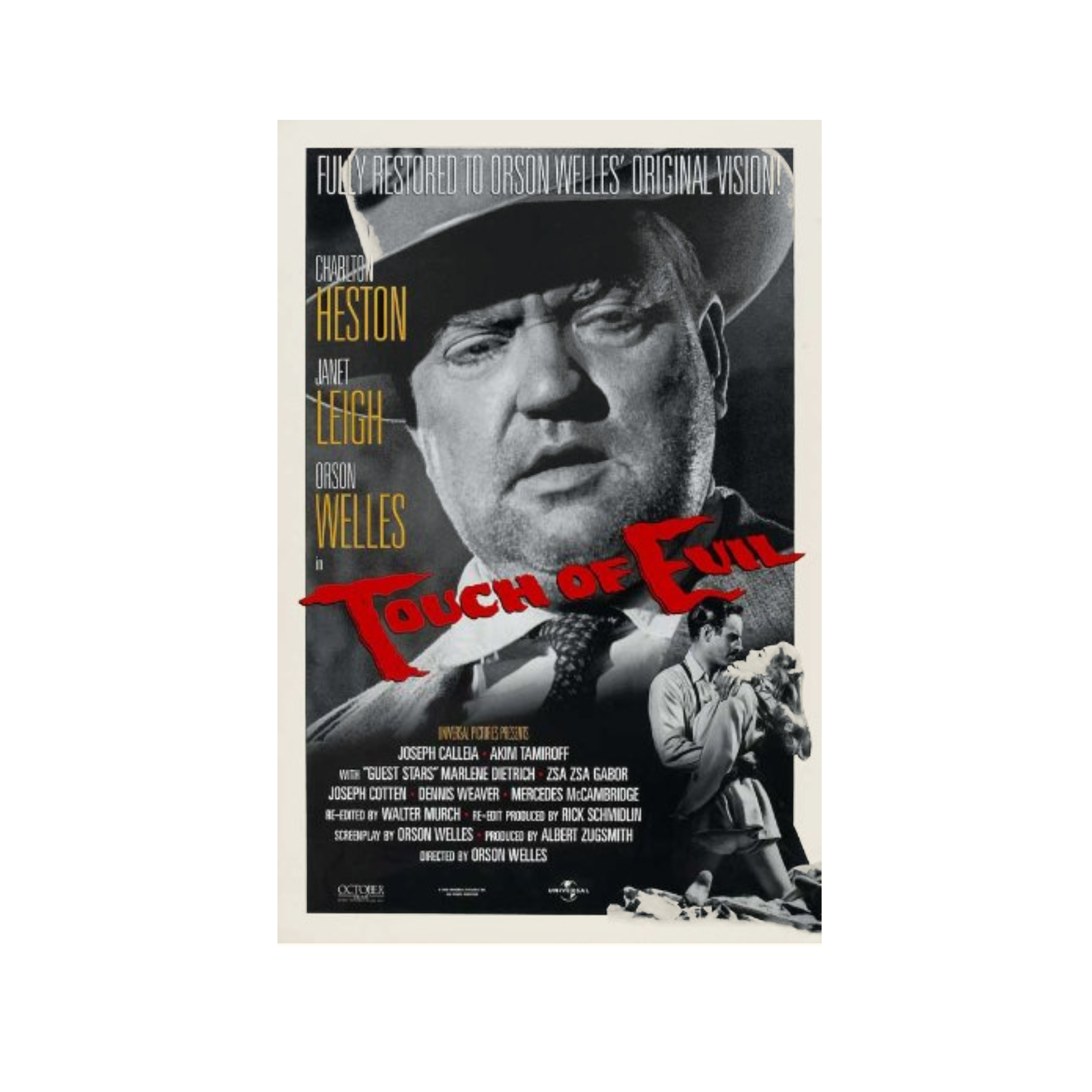 1998 TOUCH OF EVIL Movie POSTER 27x40 40th Ann Release Orson Welles Single-Sided