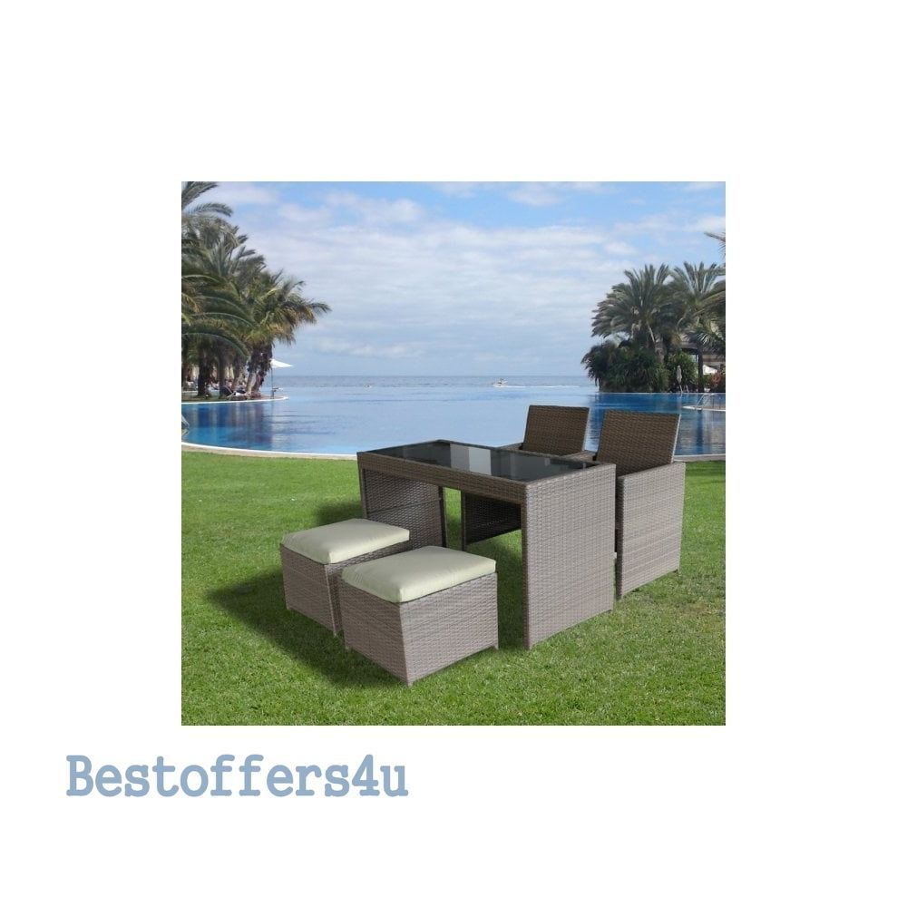 Garden Rattan Set 5pcs Cube Table Stools Chairs Outdoor Patio Small Dining Set  image 2