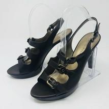 Marc Fisher Women's Size 8.5 Platform Heel Sandal Buckle Straps Leather Melainey - $28.71