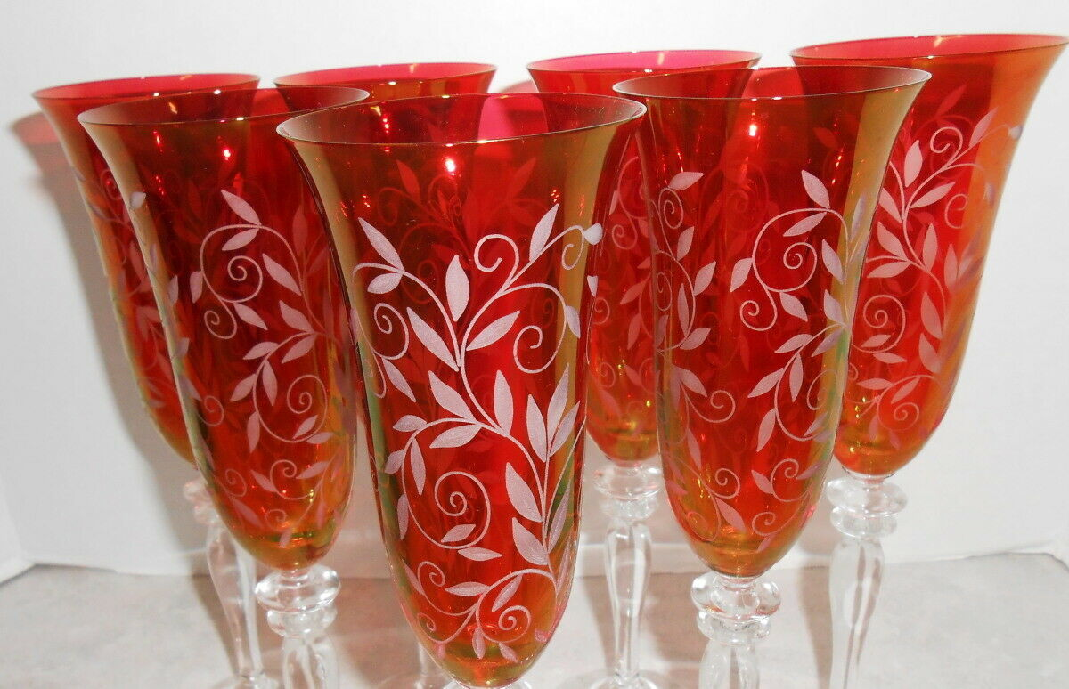 Primary image for SET OF 7 RED AMBER HINT ETCHED ELEGANT STEMMMED FLUTED CHAMPAGNE GLASSES