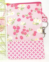 Clip-On Cell Phone Case - Large - Pink Flowers & Lattice - COPC - $4.00