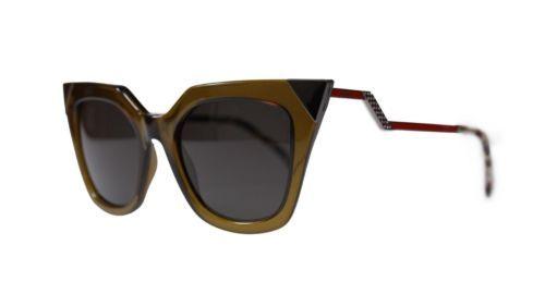 Fendi Cat Eye Women's Sunglasses FF0060 MSW Olive/Brown Grey Lens 52mm Authentic - $231.83