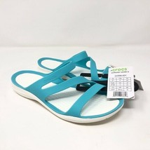 Crocs Womens Swiftwater Teal White Sandal Slide Pool Size 7 Beach Ocean Slip On - $54.69