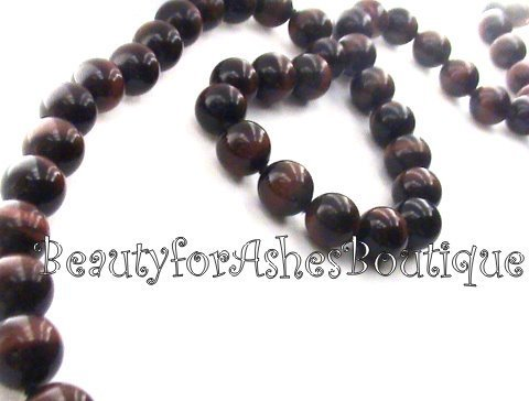 """33"""" 10MM GENUINE RED TIGER EYE BEADED NECKLACE STRAND ELEGANT CLASSIC JEWELRY - $107.50"""