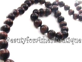 "33"" 10 Mm Genuine Red Tiger Eye Beaded Necklace Strand Elegant Classic Jewelry - $107.50"