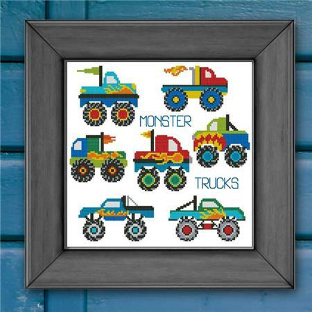 Monster Trucks Mini Collection cross stitch chart Pinoy Stitch