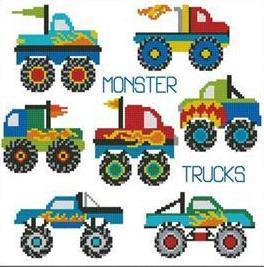 Monster Trucks Mini Collection cross stitch chart Pinoy Stitch