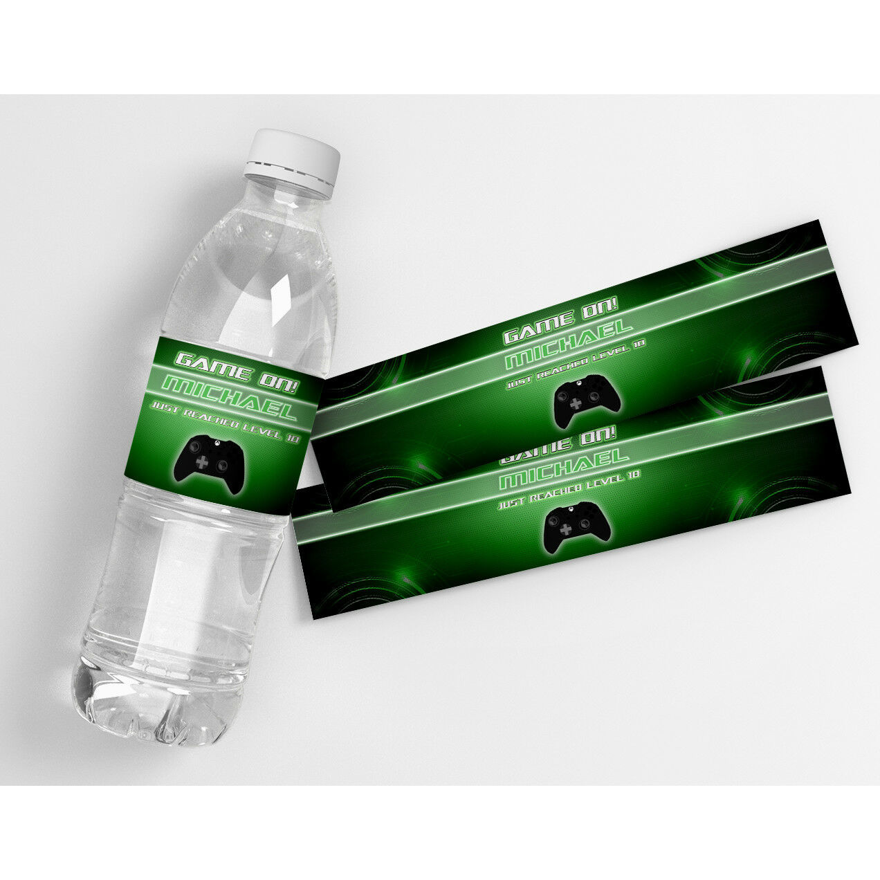 Game On Birthday Personalized Waterproof Party Water Bottle Labels