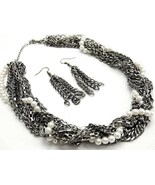 NP920 - Celebrity Style Multistrand Chains Pearl CZ Chunky Necklace Earr... - $29.99