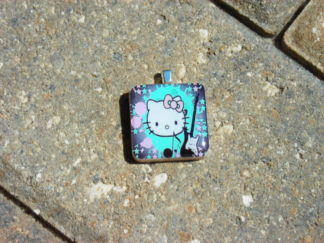 Wood Wooden Tile Pendant Handcrafted Jewelry Guitar Pink Aqua Kitten Cat Kitty