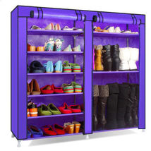 Double 6 Tier 9 Grid Shoe Tower Rack Organizer Storage Cabinet w/ Cover - $49.03 CAD
