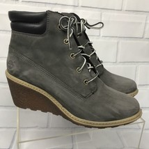 Timberland Women Amston Gray Nubuck Wedge Boots Shoes Sz 8 M - Read Desc... - $1.331,39 MXN