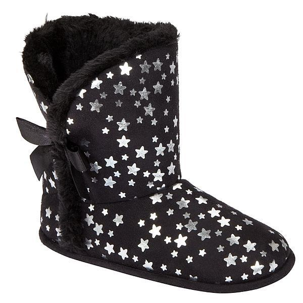 NEW BONGO KIDS GIRLS SIZE 11-12 SMALL BLACK W STARS HOUSE SLIPPERS BOOTIES