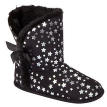 New Bongo Kids Girls Size 11 12 Small Black W Stars House Slippers Booties - $9.74