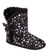 NEW BONGO KIDS GIRLS SIZE 11-12 SMALL BLACK W STARS HOUSE SLIPPERS BOOTIES - $9.74