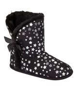 NEW BONGO KIDS GIRLS SIZE 13-1 MEDIUM BLACK W STARS HOUSE SLIPPERS BOOTIES - $9.74