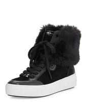 Michaels Kors Poppy Leather Rabbit Fur Collar Hightop Shoes Nwot Wms 8.5 Disc - $159.99