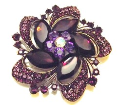 Bold Purple Swarovski Crystal Event Brooch Pin - $48.00
