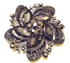 Bold Gray Swarovski Crystal Event Brooch Pin - $48.00