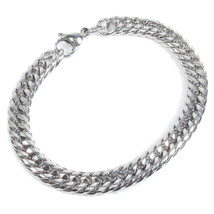 "Stainless Steel Tight Double Link Curb Chain Bracelet 8mm 7"" - $7.40"