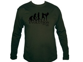 Muay Thai boxing evolution martial arts MMA army green sleeved men's t-s... - $13.99