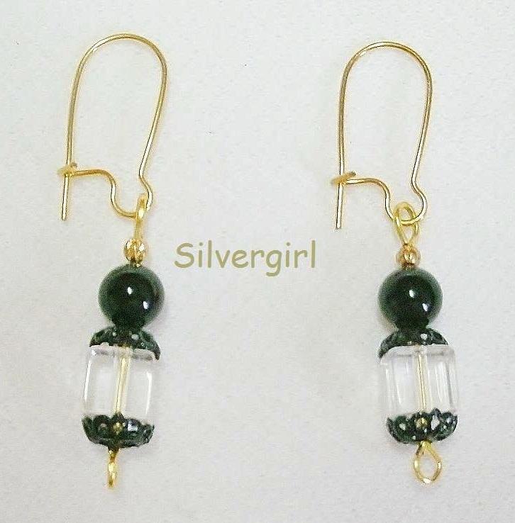 Lead Crystal Cube Swarovski Dangle Earrings Clear