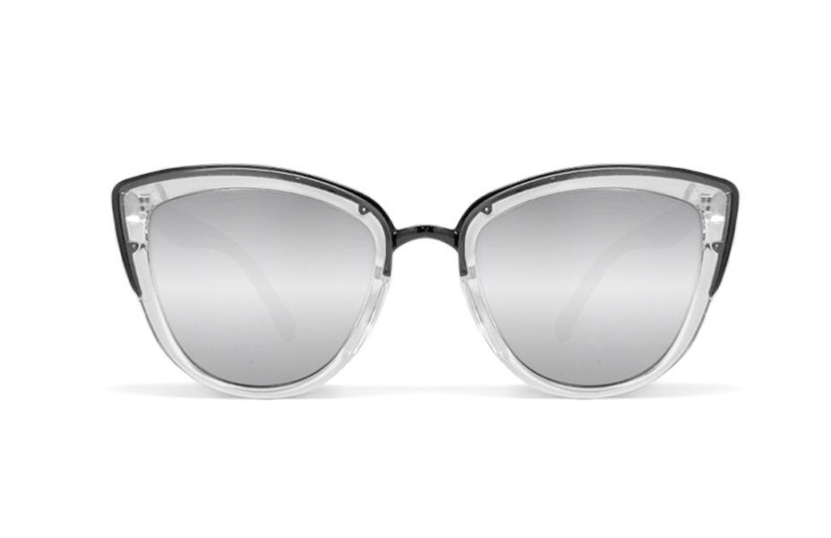 NEW QUAY My Girl  Clear/Silver Mirror Sunglasses