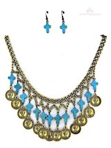 Womens Ladies Chunky Coin Turquoise Mini Cross Multi Strand Bib Necklace... - $24.95