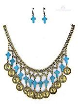 Womens Ladies Chunky Coin Turquoise Mini Cross Multi Strand Bib Necklace Set - $24.95