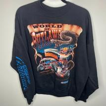Hanes Crewneck Sweatshirt Men's XL Black World of Outlaws 2000 Racing Pennzoil - $33.45
