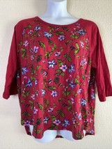 Woman Within Plus Size 1X Red Floral Raglan T-Shirt 3/4 Sleeve - $9.90