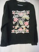 Black Floral Amsterdam Sweatshirt Size M - $19.79