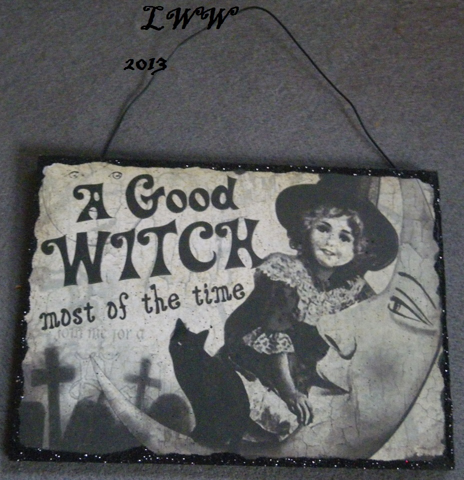 A Good Witch Most of the Time Vintage-look Halloween Wooden glitter Sign
