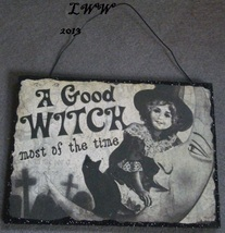 A Good Witch Most of the Time Vintage-look Halloween Wooden glitter Sign  - $5.99