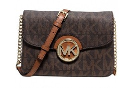 Michael Kors Fulton Flap Gusset Crossbody Brown Leather Shoulder Bag - $175.00