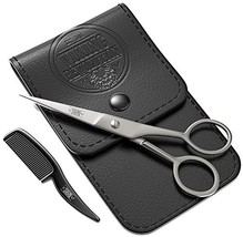 BEST DEAL Beard and Mustache Scissors w/Comb and Synthetic Leather Case Professi
