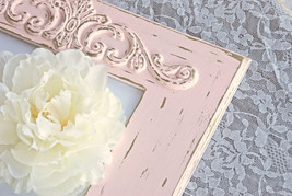Distressed pink & gold 8x10 frame, Shabby chic decor, Baby girl gift ideas - $60.00