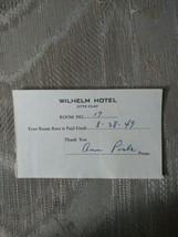 Vintage 1949 Wilhelm Hotel Paper Receipt 2772 Clay Room No 17 Room Rent ... - $12.86