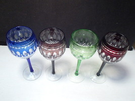 4 Cut to Clear Colored Wine Stems in the Clarendon Pattern ~ B - $116.99
