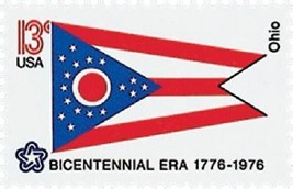 1976 13c Ohio State Flag, Bicentennial Era Scott 1649 Mint F/VF NH - $1.19