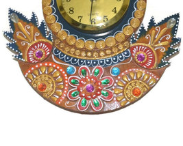 Handmade Hand painted Wooden Wall hanging Clock peacock shape - $46.99