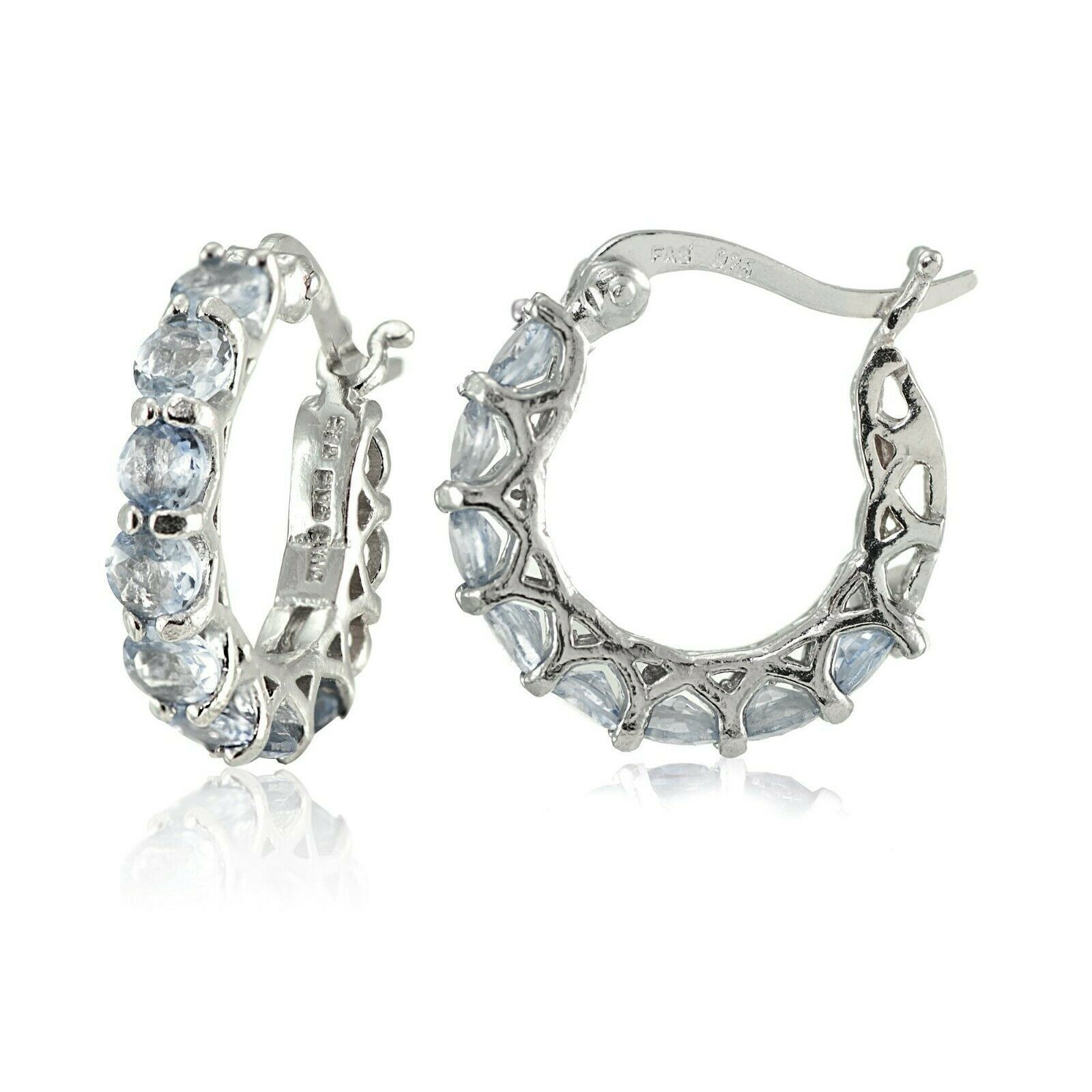Aqua Blue Swarovski Crystal Pave Hoop Dangle Earrings